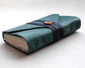 Forest Green Leather Hand Bound Pocket Notebook with Mixed Papers, OOAK