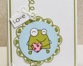 Hand Stamped Greeting Card - Love