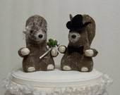 Wedding Cake Topper with Squirrels-Bride and Groom Wedding Topper-Woodland