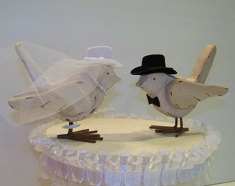 Bird Cake Topper, Western Cake Topper, Wedding Cake Topper, Bride and Groom Cake Topper,