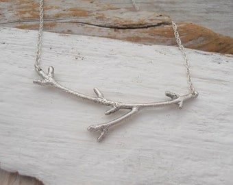 Sterling silver winter twig necklace