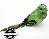 1 - Lime Green Glitter - Fake Bird - Artificial Bird - Parakeet - Feathers - Millinery - Bridal