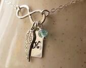 Personalized Graduation Necklace,Graduation Necklace, Graduation Gift, FLY Necklace, Graduate, Wing Infinity Jewelry, Handmade Infinity