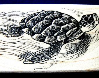 """P41 Sea turtle  Rubber Stamp WM 2.2x1.25"""""""