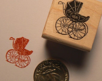 P24 Baby carriage rubber stamp miniature