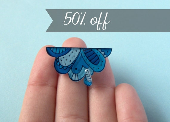Rainy cloud brooch, Illustrated jewelry, weather pin, sale