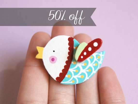 Bird brooch, wooden animal jewelry, illustrated pin, sale
