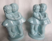 SALE Vintage 1940's Robin's Egg Blue Boy And Girl Couple Vases, Bookends Was 19.99 Now 17.99
