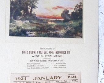 Vintage 1924 West Buxton,Maine Ad Calendar, Glimpse Of The Sound