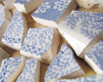 SALE LOt Of 180 Blue And White, Over 100 Yr. Old, Antique Victorian MOSAIC TILES Tessara Ironstone Was 18.50 Now 14.99