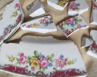 SALE Vintage Lot Of 50 Pink And White Floral Mosaic Tiles Tessara Was 12.99 Now 9.99