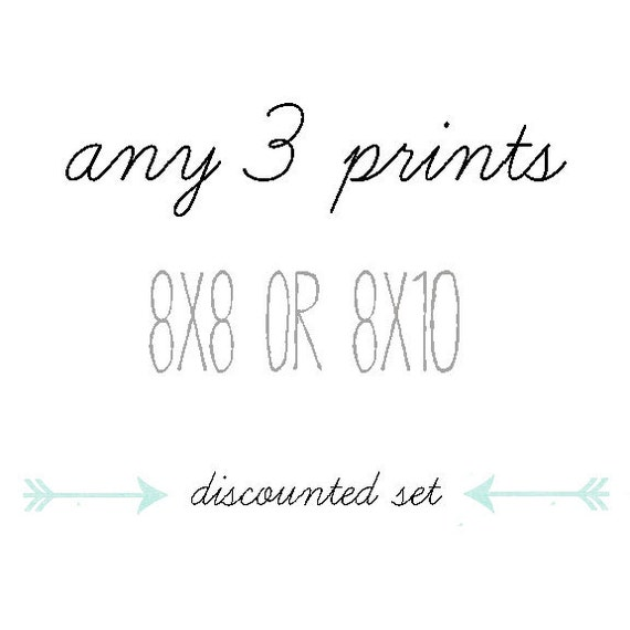 DISCOUNTED SET, You Choose Any Three Photographs, 8x8 or 8x10, Gift Set, Home Decor, Photo Collection
