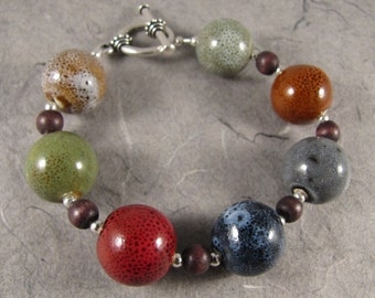Multicolored Porcelain and Wood Bracelet