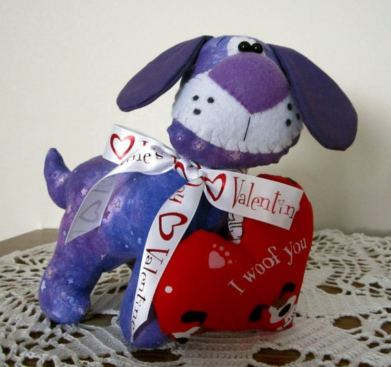 Plushy Valentine's Day Puppy Dog Soft Sculpture -  Stuffed Animal