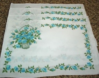 Vintage Cotton Placemats, Floral Placemats,  Cottage Chic, Aqua Floral Basket, Home Decor, Dining Placemats, Tea Party, Bridal Shower, Retro