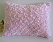 Minky Rosebud Pillow , toddler, baby pink, travel pillow 12 x 16 inches