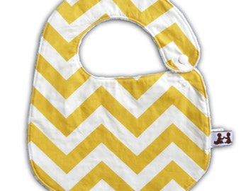 Baby Bib -Reversible- Yellow Chevron and White or Gray Minky Dot