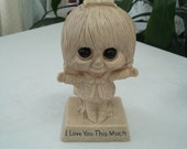 vintage Big Eye girl I love you this much figurine from Wallace Berrie company