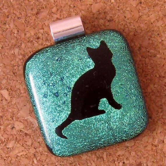 Cat Dichroic Pendant, Fused Glass Pendant, Dichroic Jewelry, Fused Glass Jewelry