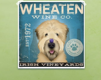 Wheaten Terrier Wine company original graphic illustration signed giclee print by stephen fowler