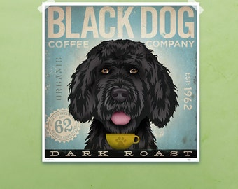 Black Dog Mutt Coffee Company graphic illustration giclee signed artist's print by Stephen Fowler