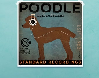 Standard Poodle Records album style graphic dog artwork giclee archival signed artist's print by stephen fowler PIck A Size