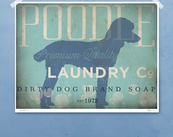Standard Poodle laundry company laundry room artwork giclee archival signed artists print various sizes