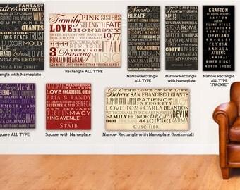 Custom Typography graphic art  on canvas 18 x 24 by gemini studio art Anniversary Wedding Birthday Retirement