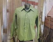 60s vintage Stripe Shirt Mens Moss Green MOD 1960s fall shirt Penneys Towncraft M