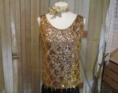 Vintage Beaded Sweater 60s Gold Sequin blouse yellow fringe vintage Holiday party blouse M