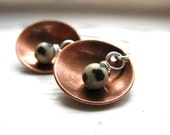Dalmatian Jasper Earrings, Metalwork Dangle Drop Earrings, Jasper Stone, Copper Dome, Dalmatian Jasper Jewelry