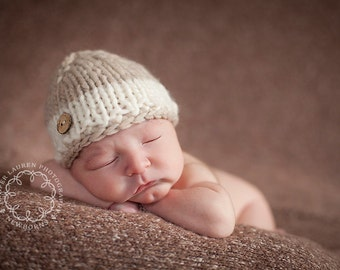 knit newborn baby button hat photography prop