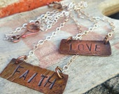 Hammered Copper and Sterling Silver  Stamped Personalized Necklace