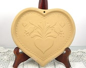 Heart Cookie Mold by Brown Bag Cookie Art Vintage 1986 Clay Valentine Mold Kitchen Baking, Paper Art