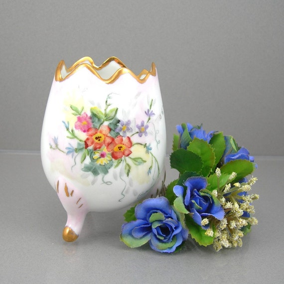 Porcelain Egg Vase on Three Legs Hand-painted Flowers on Front Circa 1950-60s Easter Collectible or Home Decor Container