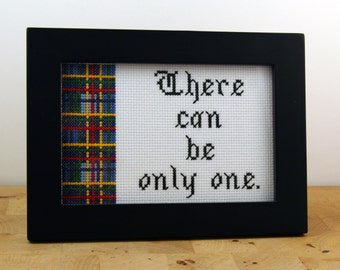 There can be only one - Framed Cross Stitch