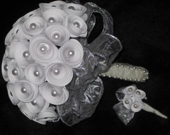 Bridal Bouquet and Groom Boutonniere set, Origami spiral rosette in White