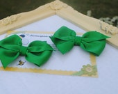 Emerald Green Hairbow Pair...Set of Medium Toddler Bows...Set of Oz Hair Clips...Two Flat Loop Hair Bows...Pretty Pigtail Hairbows