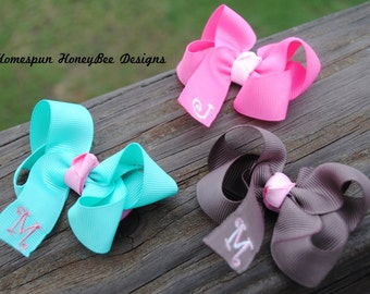 Embroidered Boutique Hair Bow Sale - ANY 3 - Shop Best Seller - Personalized Hairbow Set - Girls Monogrammed Hair Bow - 3 Inch Bow w/Initial