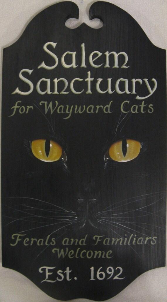 Salem Sanctuary Black Cat Welcome Sign