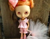 dolly molly TUTU in pink 5 piece set for blythe doll top bloomers bow dot