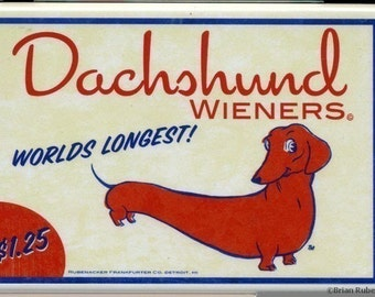 Dachshund hotdog wiener label magnet dog art