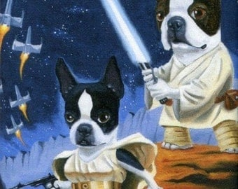Boston Terrier Luke and Leia Terrier dog art magnet