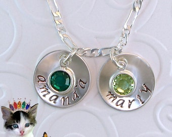 """Personalized Mothers Necklace Hand Stamped Jewelry 2 Sterling Silver 5/8"""" Disk Swarovski Birthstone Mom Grandmother"""