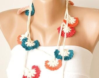 Eco Friendly Carnation flower, Spring Necklace, Lariat, Bracelet - Turkish lace Work-OOAK