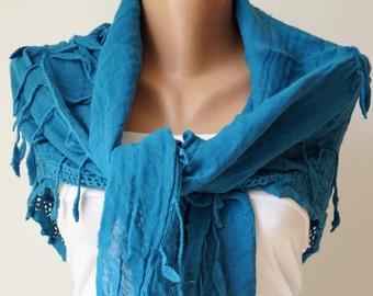 HandDyed Scarf - Blue Scarf - Cotton Scarf -  Flora Design Scarf - Wrinkled Scarf