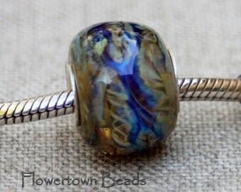 Lampwork Big Hole European Charm Style Bead, Blue Multi-color, SRA
