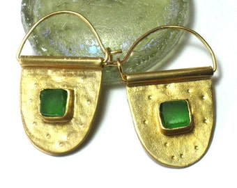 Unique Gold, Sea Glass Earrings, Earrings Green Glass, Earring Hoops Gold, Hoop Earrings for Women, Gold Earrings Unique, each glass Hoops