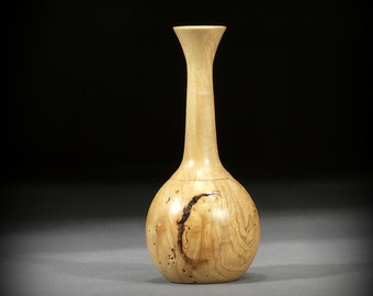 Wood Vase, Wormy Maple Weed Pot (MA47)