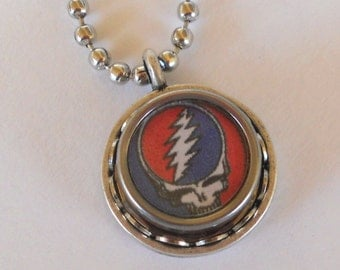 Typewriter Key Necklace/Pendant - Grateful Dead, Steal Your Face